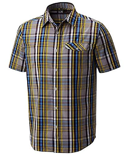 Mountain Hardwear Men's Farthing Short Sleeve Button-Down Quick Dry Plaid Shirt (Small, Manta -