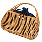 Women's Bag, Handbag - Rattan Woven Bag - Tea Ceremony Zero with Shopping Basket - Tea Set Storage Bag - Daily Retro Handbag