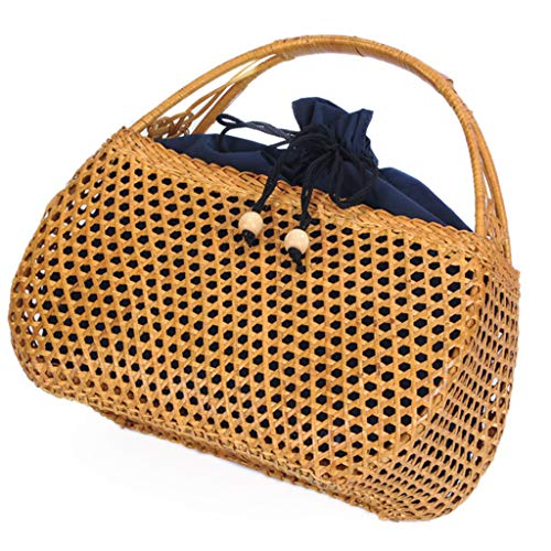 Women's Bag, Handbag - Rattan Woven Bag - Tea Ceremony Zero with Shopping Basket - Tea Set Storage Bag - Daily Retro Handbag by BHM (Image #8)