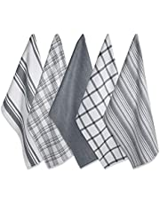 "DII 5024 Kitchen Dish Towels (Grey, 18x28""), Ultra Absorbent & Fast Drying, Professional Grade Cotton Tea Towels for Everyday Cooking and Baking - Assorted Patterns, Set of 5"