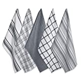 DII Kitchen Dish Towels (Gray, 18x28'), Ultra Absorbent & Fast Drying, Professional Grade Cotton Tea Towels for Everyday Cooking and Baking -  Assorted Patterns, Set of 5