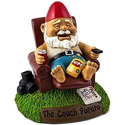 BigMouth Inc Couch Potato Garden Gnome, Funny 9-inch Tall Lawn Gnome Statue, Garden Decoration