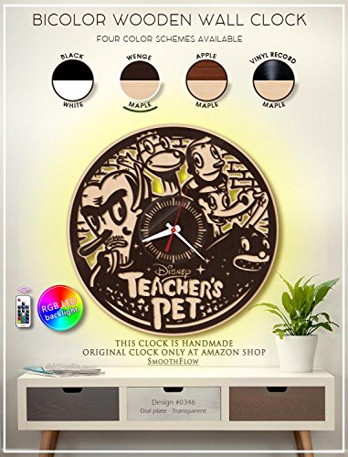 Teacher's Pet Wooden Clock. Modern Bicolor Clock. Disney Gift. Disney Decor. Handmade Wall Clock. Disney Clock. Kids Wall Clock -