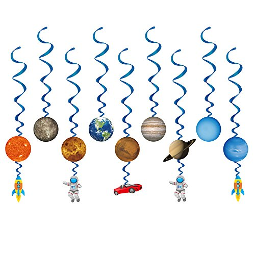 (Konsait Solar System Whirls(14Pack), Outer Space Hanging Swirl Home Classroom Decor for Boy Girl Kids Solar System Party Decoration Space Themed Birthday Party Favor Supplies)