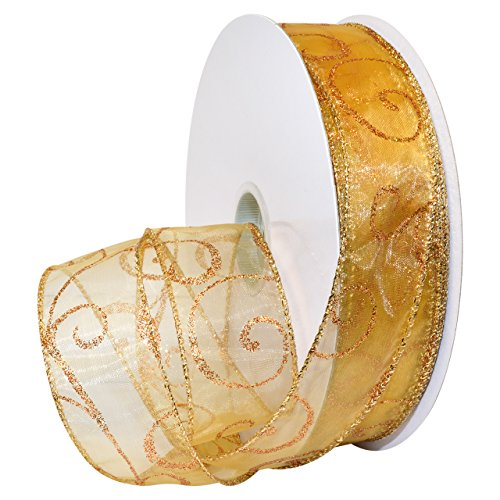 Morex Ribbon Swirl Wired Sheer Glitter, French Wired Nylon, 1 1/2 inches by 50 Yard, Gold/Bronze, Item 7416.40/50-623 ()