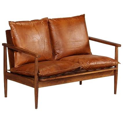 Amazon De Festnight 2 Sitzer Sofa 2er Echtes Leder Couch