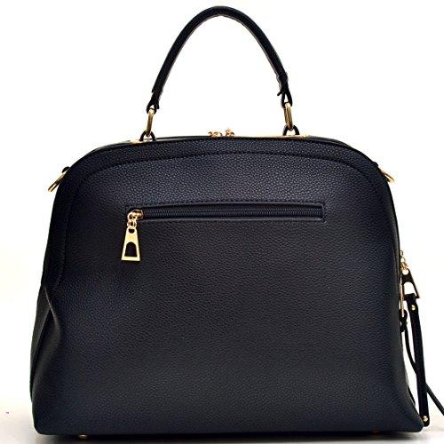 Strap Classic PU Buffalo Women's with Shoulder Domed Shoulder 2730 Classic Black Handbag Work Bag Leather Satchel Dasein Bag 6qgwTcfEq