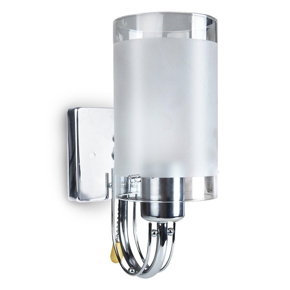 INHDBOX E27 40W Flurlampe Moderner Wandstrahler Glas Wandleuchte Schlafzimmer Wandlampe mit Zugschalter Schalter