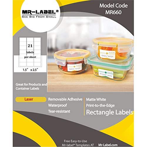 (Mr-Label Waterproof Removable Adhesive Labels - Tear-Resistant stickers for Kitchen | Manufacturing and storage | Organising and filing - Leaser Printer Only (Size: 63.5mm38.1mm) (10 Sheets/210 pcs))
