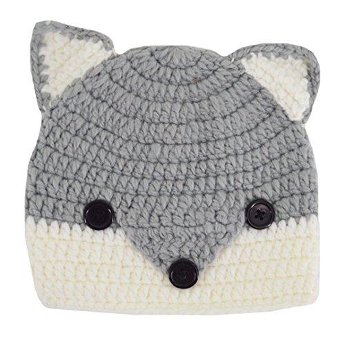 Aisa Baby Girls Boys Warm Hats Cute Fox Animal Hats Handmade Crochet Coif Hood Beanies Cap for Spring Autumn Winter (Grey) - Fox Animal Hat