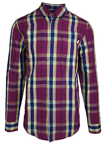 Timberland Long Sleeve Plaid (Timberland Men's Gale River Plaid & Checks Linen Button Down Shirt (Small, Purple Grape))