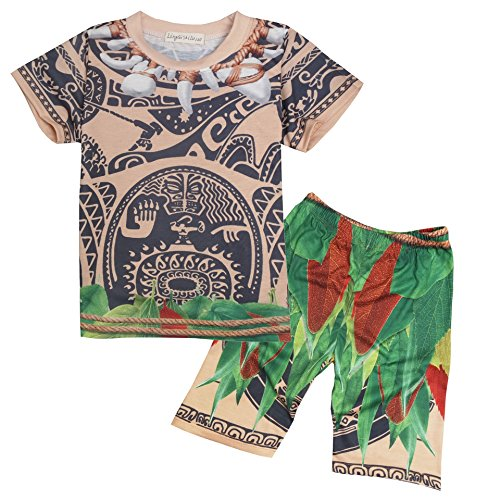 Alleppa Boys/Girls 2PCS Maui Outfit Geometric Printed Pajamas Cartoon Pants,Red,7T-8T (Do It Yourself Baby Costumes For Halloween)