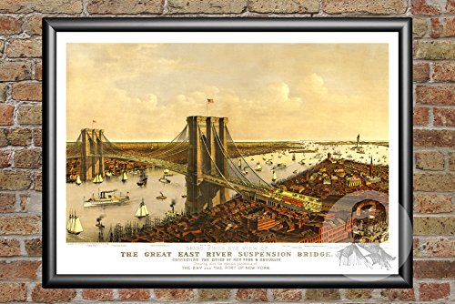 Ted's Vintage Art New York New York 1885 Map Wall Art Print