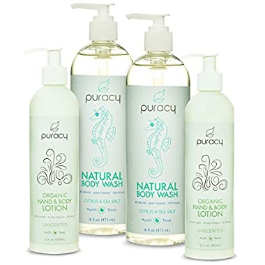 Puracy Natural & Organic Personal Care Set - Sulfate-Free Body Wash & Clinical-Grade Hand & Body Lotion - Developed by Doctors - Pack of 4