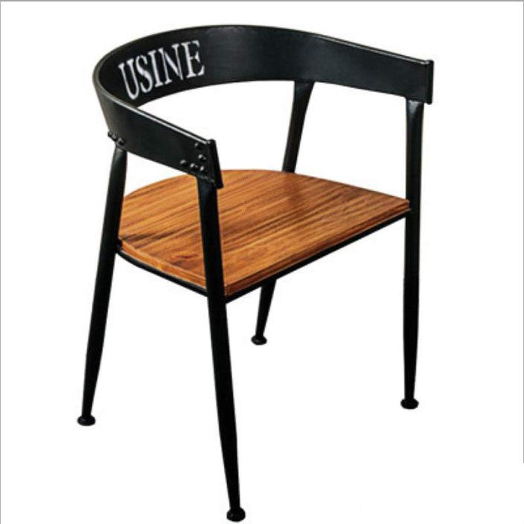 A Barstools, Retro Simple Restaurant Solid Wood Wrought Iron Chair Office Study Front Bar with Tea Shop Chair (Size   A)