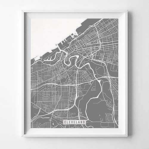 Amazon Com Cleveland Ohio Map Print Street Poster City