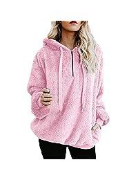 Pervobs Women Loose Fluffy Hoodie Winter Warm Long Sleeve Hooded Coat Sweatshirt