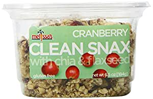Melissa's Cranberry Clean Snax with Chia and Flax Seed 6.5 Ounce, Bite-Sized Gluten Free Snack Squares with Chia & Flaxseed, Low Fat Low Sodium No Artificial Ingredients