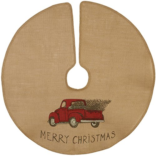 The Country House Christmas Red Truck Burlap Tree Skirt (36')