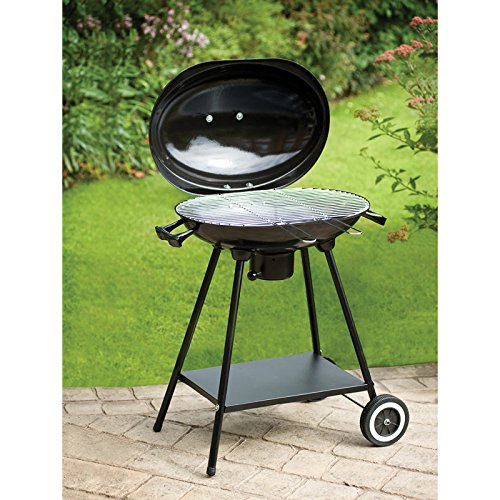 Oval Kettle BBQ Barbecue Grill Folding Portable Charcoal Garden Picnic Outdoor Camping Travel