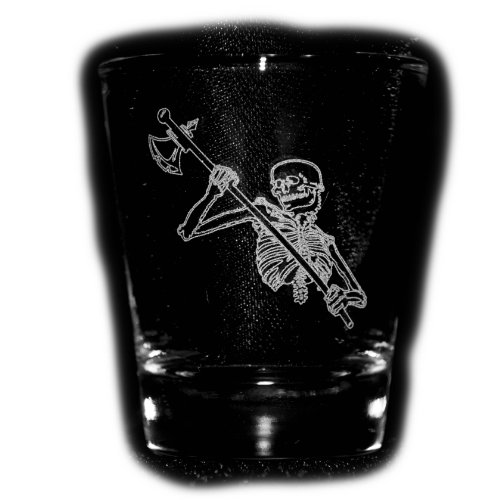 2oz Axe Skeleton Shot Glass- Tau Alpha Kappa Epsilon Sigma Pi Phi Omega Psi - Phi Sigma Glass