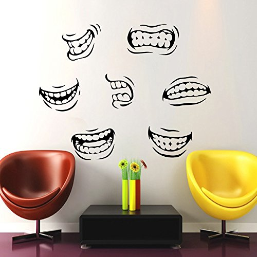 Awesome Housewares Wall Vinyl Decal Teeth Smile For Dental Clinic Home Art Decor  Kids Nursery Removable Stylish Sticker Mural Unique Design For Any Room      Amazon. ...