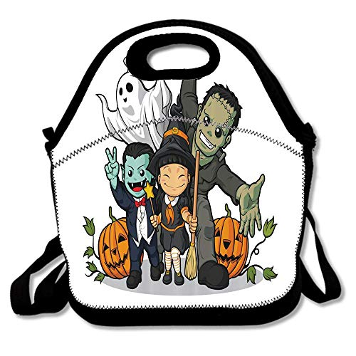 Cute Witch Vampire Frankenstein Ghost and Pumpkins Greeting Halloween Celebration Waterproof Reusable Lunch Bags For Men Women Adults Kids Toddler Nurses With Adjustable Shoulder Strap ()