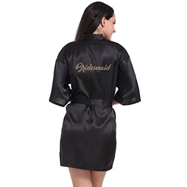 15f54e036a BOYANN Bridesmaid Dressing Gowns Satin Kimono Robe Nightwear For Women   Amazon.co.uk  Clothing