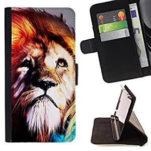 Lion Fur King Animal Psychedelic Fearless Wild - Painting Art Smile Face Style Design PU Leather Flip Stand Case Cover FOR Sony Xperia Z3 D6603 @ The Smurfs