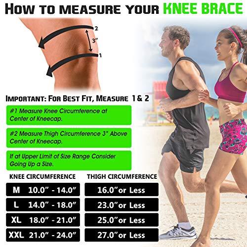 TechWare Pro Knee Brace Support - Relieves ACL, LCL, MCL, Meniscus Tear, Arthritis, Tendonitis Pain. Open Patella Dual Stabilizers Non Slip Comfort Neoprene. Adjustable Bi-Directional Straps - L