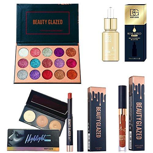 Makeup Palette Set - Beauty Glazed Eyeshadow Palettes Waterproof Eye Shadow Powder Make Up Palette Shimmers Mattes Highlighter Powder Lip Gloss Lipsick Set (15 Glitter Set)