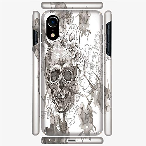 Phone Case Compatible 3D Printed iPhone X/XS DIY Fashion Picture,Skull Flowers Dia de Los Muertos Festive Decor,Personalized Designed Hard Plastic Cell Phone Back Cover Shell -