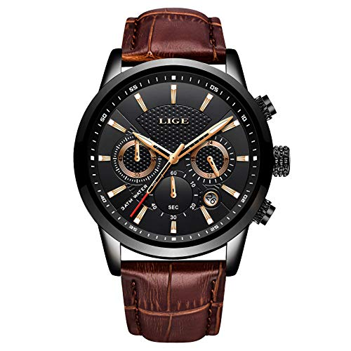 LIGE Mens Watches Fashion Waterproof Sports Chronograph Analogue Quartz Stainless Steel Dial Leather Bracelet Wristwatch