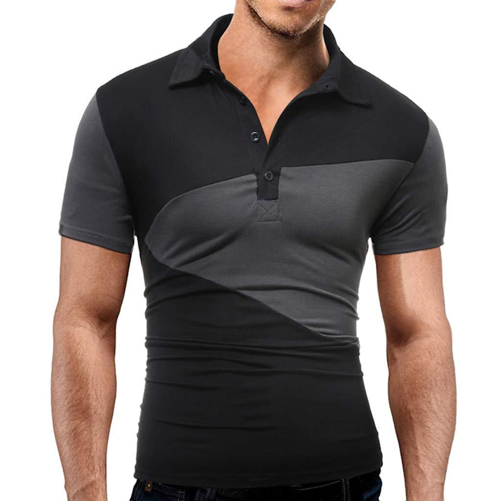 Mens Splicing Turn-Down Collar Pullover weatshirts Top Blouse T-Shirt Palarn Mens Fashion Sports Shirts