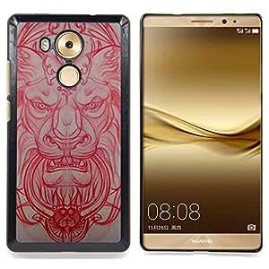For HUAWEI Ascend MATE 8 Case , Lion Architecture médiévale Sculpture Rouge - Diseño Patrón Teléfono Caso Cubierta Case Bumper Duro Protección Case Cover Funda