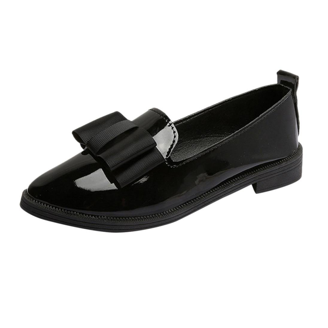 WOCACHI Women Shoes Casual Classic Women Flat Oxford Shoes with Pointed Toe Butterfly-Knot B07D6N5WWX 5 M US|Black