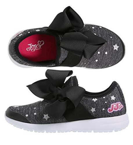 Jojo Siwa Girls Shoe Black Bow Slip On Sneaker Style Shoe Size 13 1 2 3 (13)