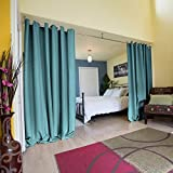 RoomDividersNow Premium Heavyweight Hanging Room Divider Kit - Large A, 8ft Tall x 9ft - 14ft Wide (Seafoam)