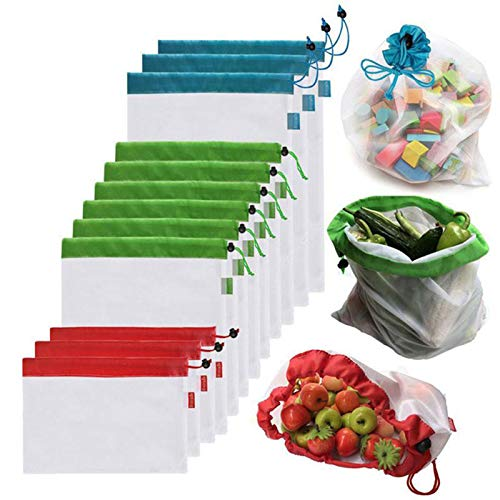 Reusable Produce Bags, 12 Pieces Mesh Bags Set Lightweight Eco-Friendly Grocery Bags Small Medium Large Sizes Fruit Vegetable Sandwich Toys Shopping Storage Recyclable Washable Net Bags TiTa-Dong