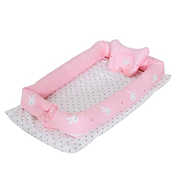 Baby Lounger for Newborn Portable Crib Bassinet for Bedroom//Travel(Pink) Breathable /& Hypoallergenic Co-Sleeping Baby Bed