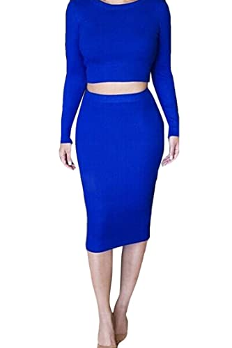 Pink Queen® Womens Crop Top Midi Skirt Outfit Two Pieces Bodycon Dress
