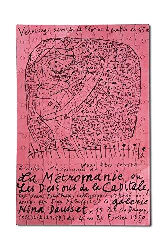 Price comparison product image La Metromanie ou les Dessous de la Capitale Vintage Poster (artist: Dubuffet) France c. 1950 (12x18 Premium Acrylic Puzzle,  130 Pieces)