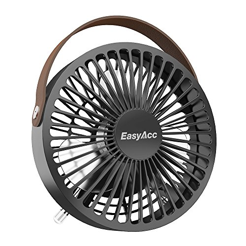 USB Desk Fan, EasyAcc 4 Inch USB Mini Table Fan Easy Cleaning Electric Portable Fan 3 Blades With Leather Handle Personal Fan ON/OFF Adjustable fit all USB Device For Office Home Desktop Table - Black