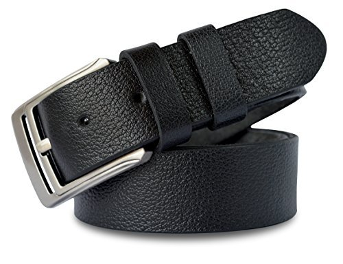 MT Men's Genuine Full Grain leather Belt for Jeans, 1.5'' Soft and Thick natural Grain leather- Black (Black, 38) Reversible Cargo Pants