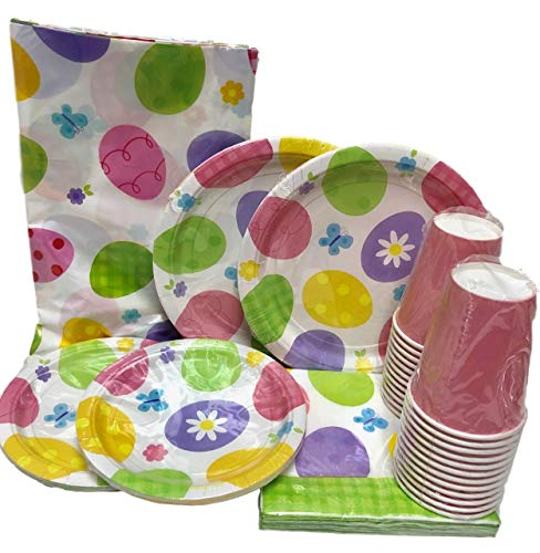 89 Piece Easter Egg Paper Plates Napkins, Cups,