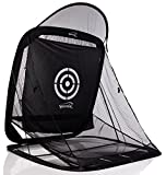 Spornia SPG-7 Golf Practice Net - Automatic Ball Return System W/Target Sheet, Two Side Barrier (with Roof)