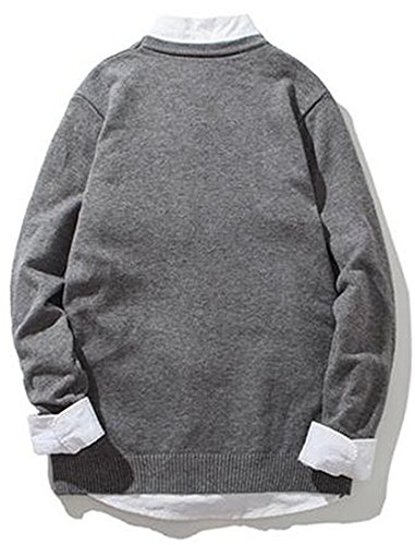 LOKOUO Fashion Mens Casual Embroidery Knit Slim Stretch Soft Pullover Sweater GreyUS X-Small by LOKOUO Pullover-sweaters