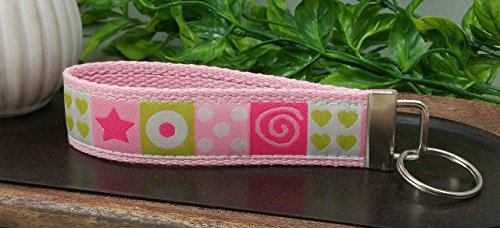 Pink Squares Hearts Swirls Polka Dots Stars Keychain Hand Sewn Cotton Hot Pink White Lime Green Webbing (Swirl Embroidery)