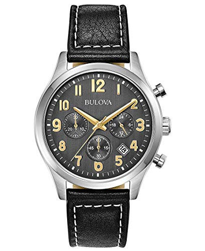 Bulova Mens Chronograph Quartz Watch with Leather Strap 96B302