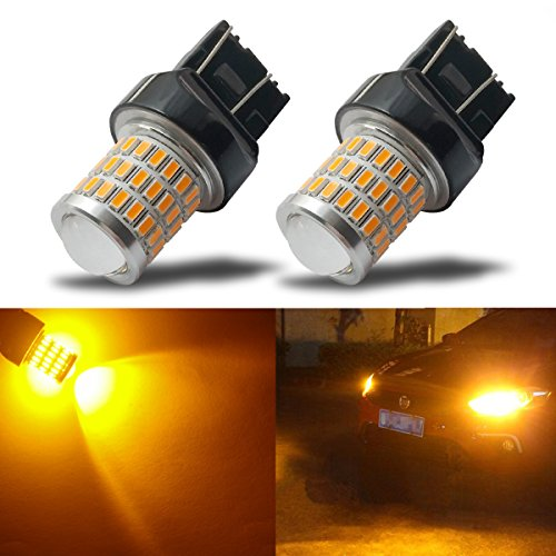 (iBrightstar Newest 9-30V Super Bright Low Power 7440 7443 T20 LED Bulbs with Projector replacement for Turn Signal Lights,Amber Yellow)